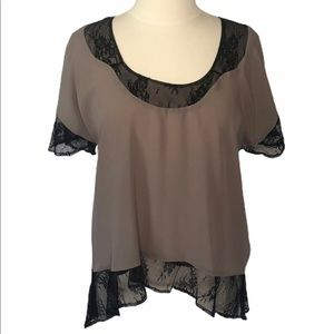 Collective Concepts Black Lace Tan Top  SS Small
